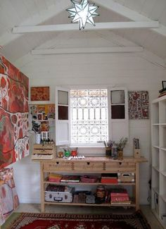 Beautiful and inspiring home art studio ideas.  Looking for inspiration for how I want my studio to feel as well as how I want to organize things.