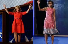 ANN vs. MICHELLE: Who wins your vote?    Ann Romney looked stunning in her red belted Oscar de la Renta dress during the Republican National Convention last week. But did it hold a candle to Michelle Obama's custom-made Tracy Reese dress in pink, gold and gray trim during last night's Democratic Convention?    You decide.. give us your vote for Ann or Michelle in a comment below!