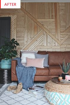 Before and After: This Wood Panel Living Room Wall Puts Shiplap to Shame