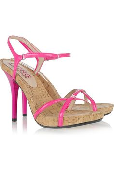 Michael Kors Pink Patent Leather & Cork Sandals   -  Colored Leather   ♥   The Parakeets Lounge