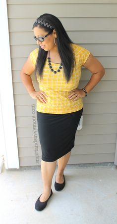 Mustard top with black pencil style maxi skirt, easy modest summer outfit idea