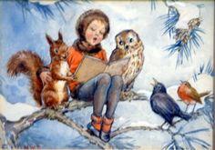 Vintage Margaret Tarrant Winter Art ~ Little Girl in Orange Coat & Forrest Friends