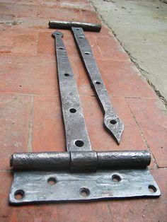 Hand Forged Barn door hinges, Blacksmith Made | Barn door hinges ...