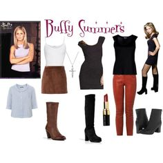 Buffy Summers Outfits by lizzynupa on Polyvore featuring Express, Backstage, Emporio Armani, American Vintage, Isabel Marant, Opening Ceremony, Seychelles, L'Autre Chose, n.d.c. and Bobbi Brown Cosmetics