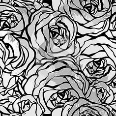 Seamless black and white pattern with roses na http://www.dreamstime.com