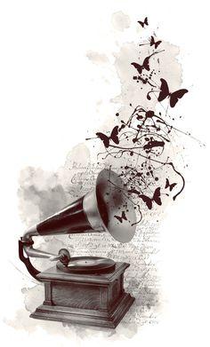 gramophone by Anti-Pati-ya on DeviantArt Music Drawings, Music Artwork, Art Drawings, Watercolor Tattoo Music, Watercolor Art, Aquarell Tattoo Musik, Musik Wallpaper, Musik Illustration, Newspaper Art