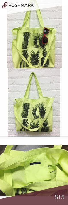 """>>FINAL SALE<< • Pineapple Tote 🍍Pineapple Neon Tote Bag🍍  d e t a i l s 🎀 + brand new with wrapping still on strap, but tag fell off + neon yellow/green + has two short straps on top to carry as tote or use the shoulder strap and wear cross-body + inside pocket for small storage items ✖️NO trades✖️  m e a s u r e m e n t s ✂️ 17.5"""" W x 15"""" H  + h o s t  p i c k 8/13/16 • Vacation Vibes 😎🍍  >> FINAL SALE, unless bundled <<  b u n d l e  d i s c o u n t s +2 items 15% +3 items 20% Bags…"""