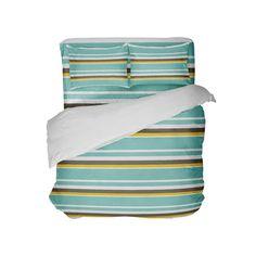 Sea Foam, Brown, White & Yellow Stripes Beach Comforter from Kids Bedding Company