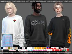 The Sims 4 Crewneck Sims 4 Men Clothing, Sims 4 Male Clothes, Sims 4 Hair Male, Sims 4 Toddler Clothes, Men Clothes, Clothes Swag, Male Clothing, The Sims 4 Pc, Sims Four