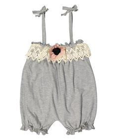 Love this Gray and Pink Flower Appliqué Bubble Romper - Infant & Toddler on #zulily! #zulilyfinds