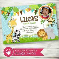 Kit Imprimible Animalitos De La Selva Invitaciones Candy Bar - $ 49,99