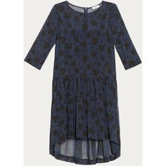 Max&Co. Oversize dress in silk georgette ($195) ❤ liked on Polyvore featuring dresses, midnight blue pattern, print dress, petticoat dresses, mullet dress, zip dress and zipper dress