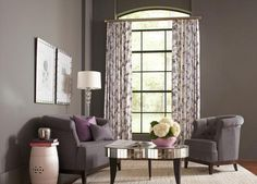 Frame Long Windows with Patterned Panels-Floor-to-ceiling windows are sometimes difficult to dress, but patterned panels are a great solution for adding extra width and emphasis to narrow windows. http://www.budgetblinds.com/ReginaSouth/ 306-949-2300 ‪#curtains ‪#‎drapes‬ ‪#‎regina #panels ‪#‎budgetblinds‬