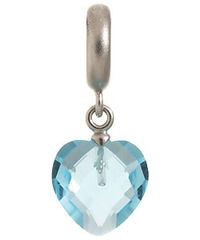 Endless Sterling Silver Sky Blue Heart Cut Drop Charm