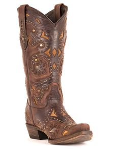 Could these be the boots? Need to remember these Lucchese Studded Scarlet Cafe Brown Boot from Country Outfitter.