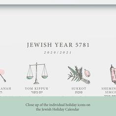 THE JEWISH HOLIDAY CALENDAR ART PRINT DISPLAYS THE 16 MAJOR JEWISH HOLIDAYS WITH BEAUTIFUL CUSTOM ICONS AND THIS YEAR'S DATES. Jewish Year 5780 Jewish Holiday Calendar, Jewish Year, Simchat Torah, Jewish Crafts, Holiday Icon, Yom Kippur, Custom Icons, Rosh Hashanah, Judaism