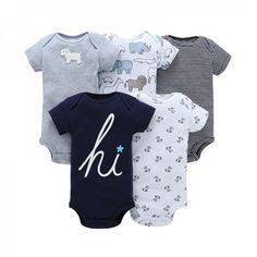 6a5141a94242 5-pack Short-sleeve Patterned Bodysuit for Baby Boys Boy Clothing