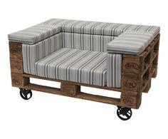 Canapé sur roulettes, naturel et gris - L80   Westwing Home & Living