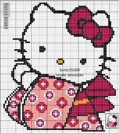 Kimono Hello Kitty perler bead pattern