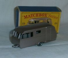 1960s.Lesney.matchbox.23.Caravan.trailer.RV,Silver Plastic wheels.Mint in box #Matchbox