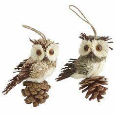 Natural Owl Ornaments