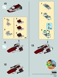 LEGO 30272 A-Wing Starfighter instructions displayed page by page to help you build this amazing LEGO Star Wars set Lego Duplo, Lego Moc, Lego For Kids, All Lego, Legos, Avion Lego, Instructions Lego, Lego Star Wars Mini, Lego Craft