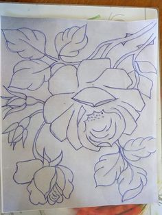 Flower Line Drawings, Flower Sketches, Art Drawings, Vintage Embroidery, Hand Embroidery, Embroidery Designs, Rose Outline Tattoo, Acrylic Painting Techniques, Baby Girl Crochet