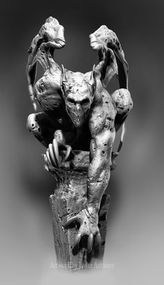 Gargoyle Rendered using Zbrush, then finalized in Photoshop by Javier Antunez, Owner/Artist of Tattooed Theory Customs, INC.   for contact and booking info please visit www.TattooedTheory.com Gargoyle Tattoo, Evil Tattoos, Tattoo Images, Tattoo Pics, Creepy Art, Scary, Black And Grey Tattoos, Zbrush, Chest Tattoo