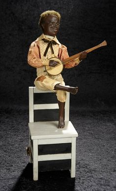 """Bijoux - January 2018 in Newport Beach, California: 48 French Musical Automaton """"Banjo Player Seated on Chair Back"""" by Gustav Vichy Ladder Back Chairs, Imperial Russia, Chair Backs, Banjo, Little Darlings, January 6, Folk Art, Musicals, Auction"""