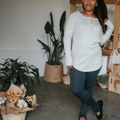 Little & Lively - Women's Long Sleeve Henley Shirt | Ash – The Kindred Studio Women's Henley, Henley Shirts, Kids Pajamas, Pajamas Women, Cotton Leggings, Women's Leggings, Ankle Length Leggings, Long Sleeve Henley, Kids Branding