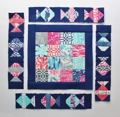 Free pattern on Moda Bake Shop - Just Keep Swimming Quilt, the little fish are so cute.  By Jen Daly using Kate Spain fabric Paradiso.