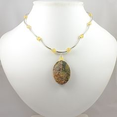 Honey Jade and Sterling Silver Necklace