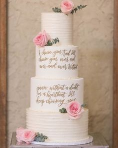 This cake makes a statement..in more ways than one! The addition of your favorite quote or phrase is a charming and unexpected choice. See more rustic wedding cake, decor, and dress ideas at rusticweddingchic.com 📸: @cbaronphoto Wedding Cake Rustic, Wedding Cakes, Wedding Venues, Wedding Day, Wedding Dress, Wedding Cake Inspiration, Seasonal Flowers, Wedding Cake Designs, Wedding Desserts