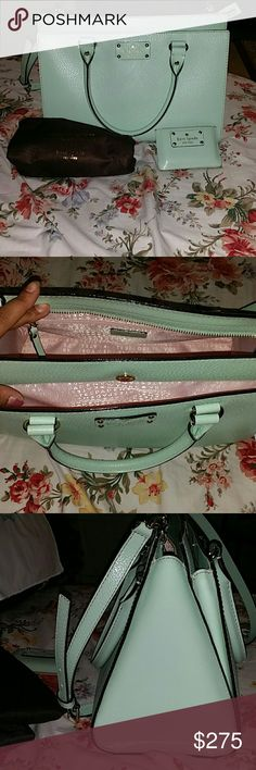"""BRAND NEW Mint Mojito Kate Spade """"She tucked her coral lipstick away and floated back to the party."""" Kate Spade New York This handbag is very spacious and could hold a days essentials. This will be accompanied with the dust bag! Please do keep in mimd I am selling as a set. Nothing separately. Price reflects that. No trades. kate spade Bags Shoulder Bags"""