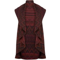 Brown Aztec Print Waterfall Gilet (£25) ❤ liked on Polyvore