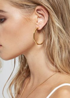 Facet Gold Hoops by Edge of Ember | Gather& See