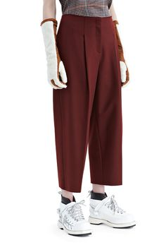 Murol cropped wool trousers with raw edged top and hems #AcneStudios #PF15