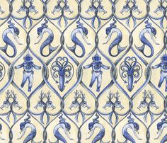 http://www.spoonflower.com/wallpaper/1134917 Tethys Trellis fabric by ceanirminger on Spoonflower - custom fabric