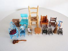 Vintage Doll House Chair Lot Guitar Wooden Chairs Rocking Chairs Sewing Cushion