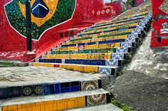 View of Selaron's Stairs (Escadaria Selarón), a colorful mosaic tile stairway, in Rio de Janeiro, Brazil, 12 February 2012. World-famous staircase, mostly covered by vibrant yellow, green and blue tiles (inspired by the colors of the Brazilian flag), is the masterpiece of Chilean-born artist Jorge Selarón who considers it as a personal tribute to the Brazilian people.