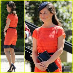 Pippa Middleton: Second Wedding in One Week!  Pippa knows that tangerine is HOT for summer weddings this year!