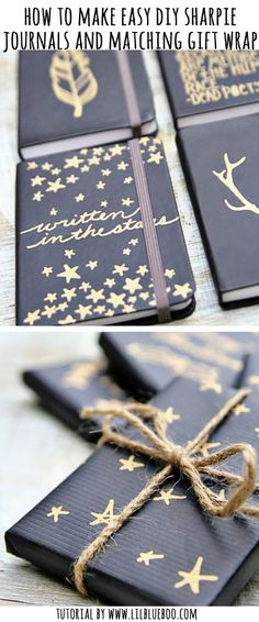 Holiday gift idea: Sharpie Journals with matching gift wrap #gift #diy #michaelsmakers