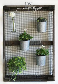 using screen to hang plants