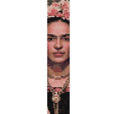 Frida Kahlo Face Pattern 4 - Loom or 2 Drop Even Count Single Peyote Stitch Bead Loom Patterns, Peyote Patterns, Bracelet Patterns, Beading Patterns, Diy Bracelets And Anklets, Loom Bracelets, Peyote Beading, Peyote Bracelet, Pixel Crochet