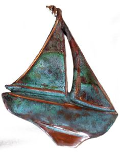 Verdigris Patina Solid Brass Sailboat Pin * Click On The Image For  Additional Details. (