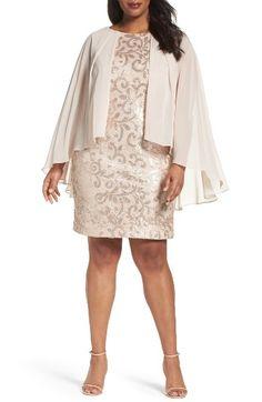 9eb421559718 Alex Evenings Chiffon Overlay Sequin Lace Sheath Dress (Plus Size) |  Nordstrom