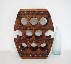 Vintage Wine Rack Large Wooden Barrel Shape Stand Wood Display Bar Pub