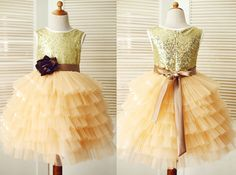 Gold Sequin/Champagne Tulle Brown Flower Sash Cupcake Flower Girl Dress Children Toddler Party Dress for Wedding Junior Bridesmaid Dress