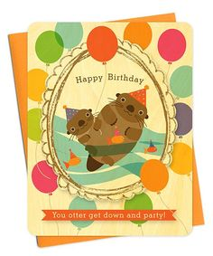 Otter Portrait Real Wood Birthday Card