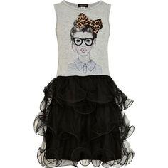 River Island Girls Grey 3d Bow Tutu Dress ($34) ❤ liked on Polyvore